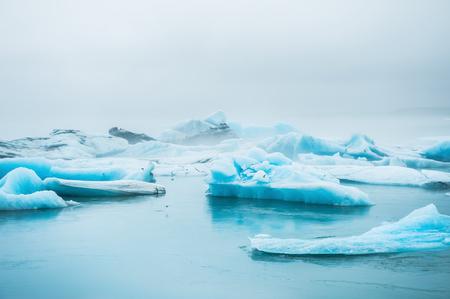 jokulsarlon: Beautiful blue icebergs in Jokulsarlon glacial lagoon. Vatnajokull glacier, south of Iceland