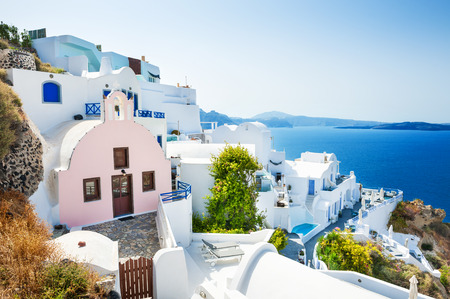 White architecture on Santorini island, Greece. Beautiful landscape with sea view Reklamní fotografie - 45182501