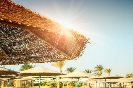 Beautiful tropical beach on the Red Sea. Summer landscape. Travel holiday background Stock Photo
