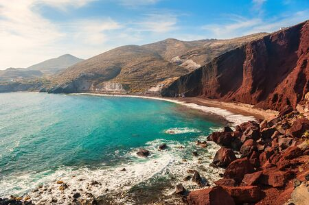 seacoast: View of the seacoast and the beautiful Red beach at sunset. Santorini island, Greece Stock Photo