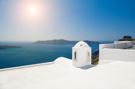 White architecture on Santorini island, Greece.  Beautiful landscape with sea view Zdjęcie Seryjne