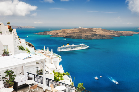 White architecture on Santorini island, Greece. Beautiful landscape with sea view. Editorial