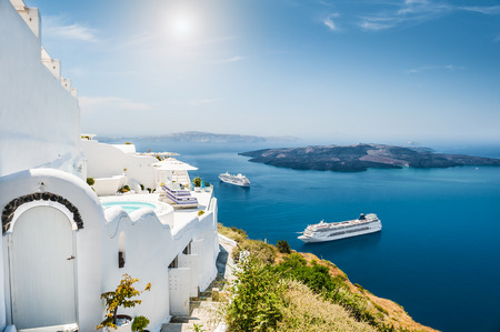 mediterranean houses: White architecture on Santorini island, Greece.  Beautiful landscape with sea view Stock Photo