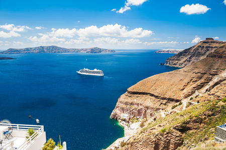 greek islands: Cruise liner near the Greek Islands. Beautiful landscape with sea view. Santorini island, Greece