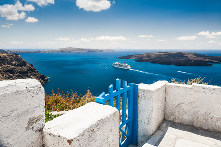 sharpness: White architecture on Santorini island, Greece. Terrace with sea view. Small depth of sharpness Stock Photo