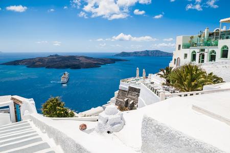 landscape architecture: White architecture on Santorini island, Greece.  Beautiful landscape with sea view Stock Photo