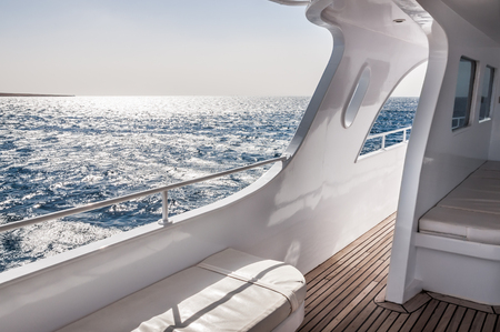 White yacht in the Red sea. Beautiful summer seascape