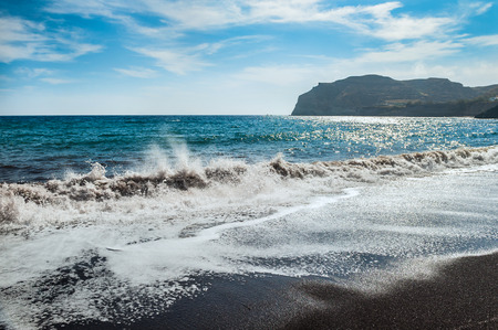 seacoast: View of the seacoast and the beautiful Red beach. Santorini island, Greece