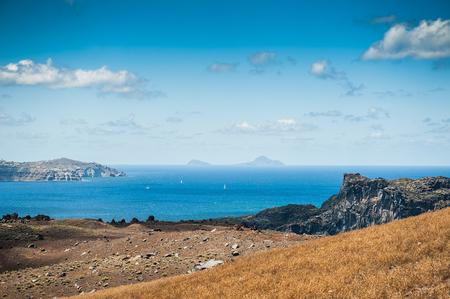 greek islands: Sea view on the Greek Islands. Volcano near the Santorini island Stock Photo