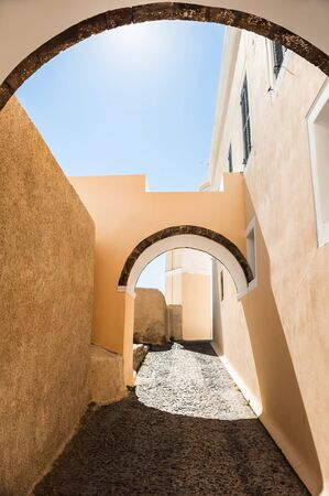 fira: Old street in Fira on the island Santorini, Greece Stock Photo