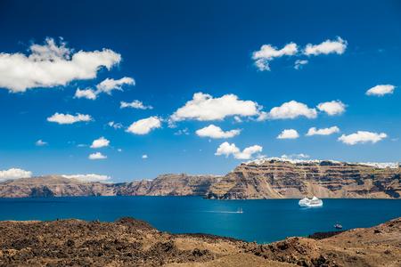 greek islands: Sea view on the Greek Islands. The volcano near the island of Santorini