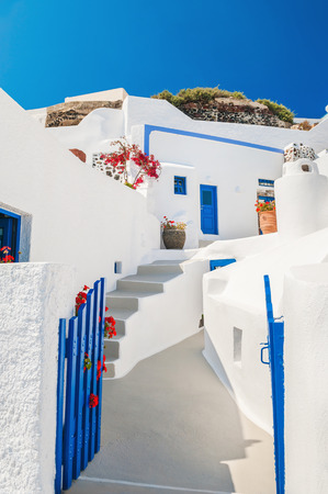 fira: Old street in Fira town. White-blue national architecture on Santorini island, Greece.