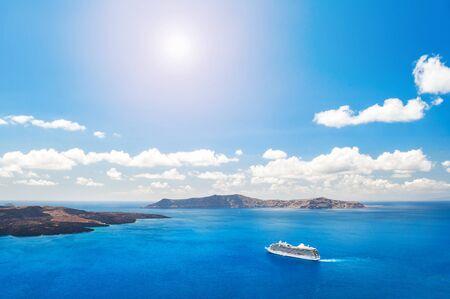 greek islands: Cruise liners near the Greek Islands. Beautiful landscape with sea view. Santorini island, Greece Stock Photo
