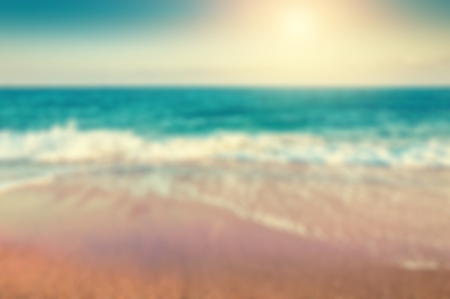 sunset beach: Tropical beach. Blurred travel background