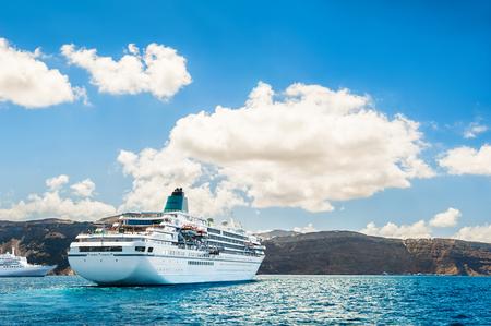 greek islands: Big cruise liners near the Greek Islands. Santorini island, Greece Editorial