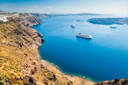 Cruise ships near the Greek Islands. Santorini island, Greece. Beautiful landscape with sea view Zdjęcie Seryjne