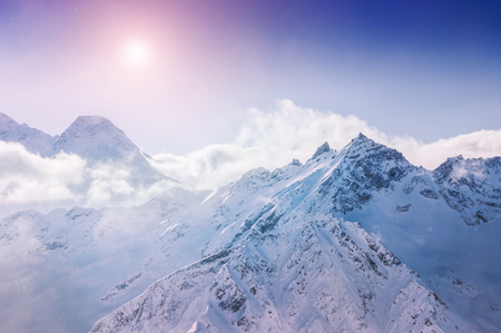 snow covered mountains: Winter snow covered mountains at sunset. Beautiful winter landscape