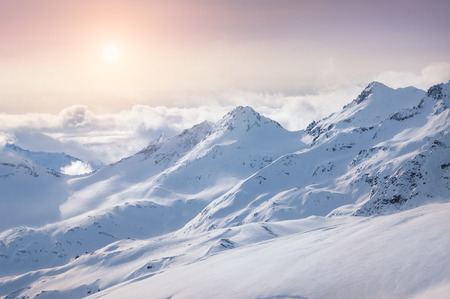 Winter snow covered mountains. Beautiful winter landscape