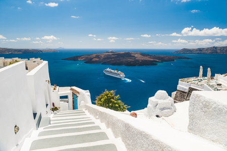 greek island: Luxury hotel with sea view. White architecture on Santorini island, Greece. Beautiful summer landscape