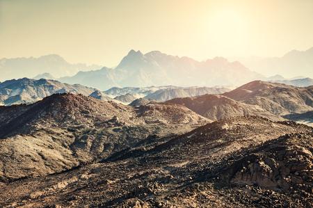 mountain top: Beautiful mountains in the Arabian desert. Summer landscape. Creative toning effect