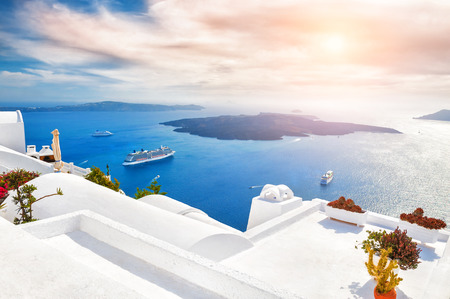 suite: Beautiful sunset on Santorini island, Greece. Magnificent landscape with sea view