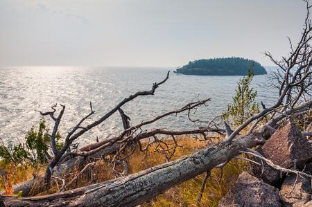 ladoga: Wild coast on the island. Beautiful summer landscape. Stock Photo
