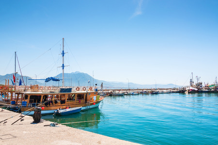 dive trip: Tourist ships in the port of Alanya, Turkey. Beautiful view of sea