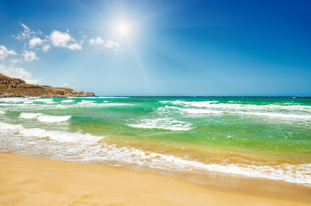 Beautiful beach with turquoise water and white sand. Crete island, Greece. Stock Photo