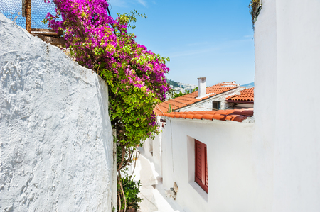 cycladic: Beautiful street in Athens, Greece. Selective focus. National cycladic architecture in the ancient district of Plaka