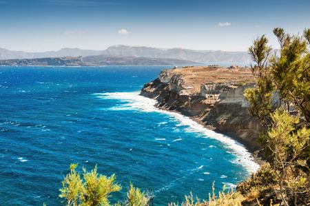 Greece: View of the rocky sea coast. Santorini island, Greece. Beautiful summer landscape