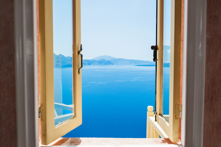 Open window with beautiful sea view. Santorini island, Greece Zdjęcie Seryjne - 46418740