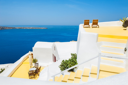 White architecture on Santorini island, Greece. Beautiful summer landscape with sea view