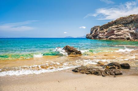 beautifu: Beautifu tropical beach with clear turquoise water and rocks. Agios Pavlos beach, Crete island, Greece.