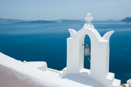 santorini greece: White architecture on Santorini island, Greece. Beautiful landscape with sea view