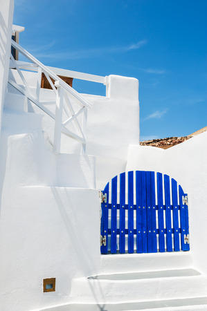 cycladic: Cycladic blue and white architecture on Santorini island, Greece.