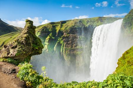 skogafoss waterfall: Beautiful and famous Skogafoss waterfall. South  of Iceland Stock Photo