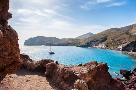 Red Beach on Santorini island, Greece. Beautiful summer landscape
