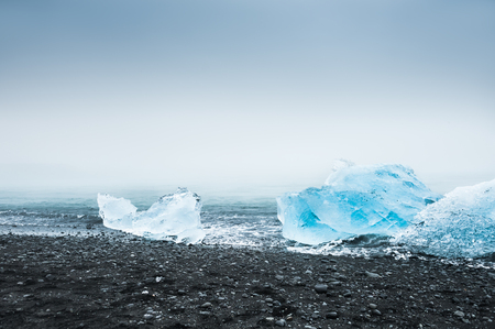 water  scenic: Beautiful blue icebergs on the coast of the Atlantic ocean. South of Iceland Stock Photo