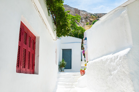 cycladic: Beautiful street in Athens, Greece. National cycladic architecture in the ancient district of Plaka