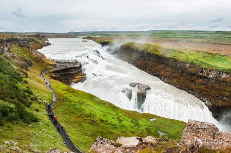 Beautiful and famous Gullfoss waterfall, Golden circle route in Iceland Standard-Bild