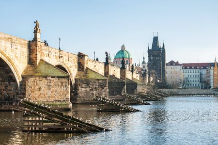 charles bridge: Charles Bridge on Vltava river in Prague, Czech Republic