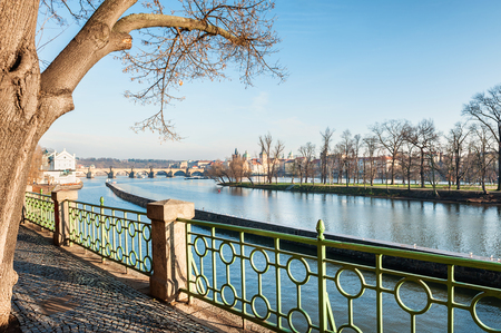 vltava: Embankment of the Vltava river in Prague, Czech Republic