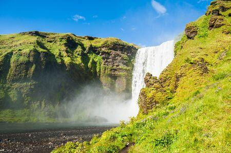 skogafoss waterfall: Beautiful and famous Skogafoss waterfall, South Iceland.