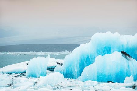 blue lagoon: Blue icebergs in Jokulsarlon glacial lagoon. Vatnajokull glacier, south Iceland Stock Photo