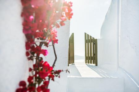 wicket door: White architecture on Santorini island, Greece.