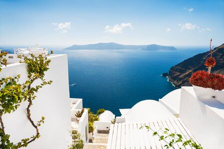 island paradise: White architecture on Santorini island, Greece. Beautiful landscape with sea view