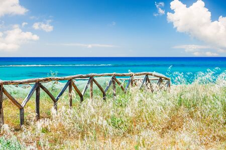 summer holidays: Beautiful sea coast with wild grasses and fence. Crete island, Greece