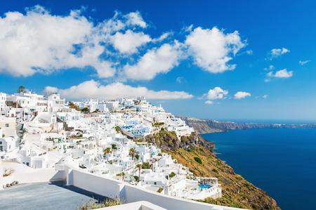 landscape architecture: White architecture on Santorini island, Greece. Beautiful landscape with sea view