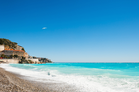 french riviera: Beautiful sea coast in Nice, France. Cote dazur, french riviera Stock Photo