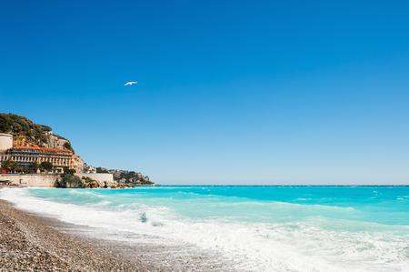 azure: Beautiful sea coast in Nice, France. Cote dazur, french riviera Stock Photo